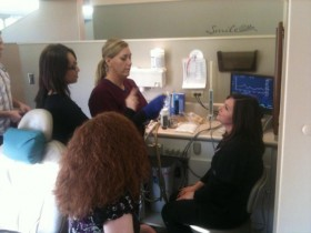Crystal doing a demo with the Eccovision at Dr. Barnes in Utah